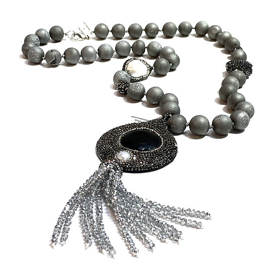 Grey Druzy Agate Necklace