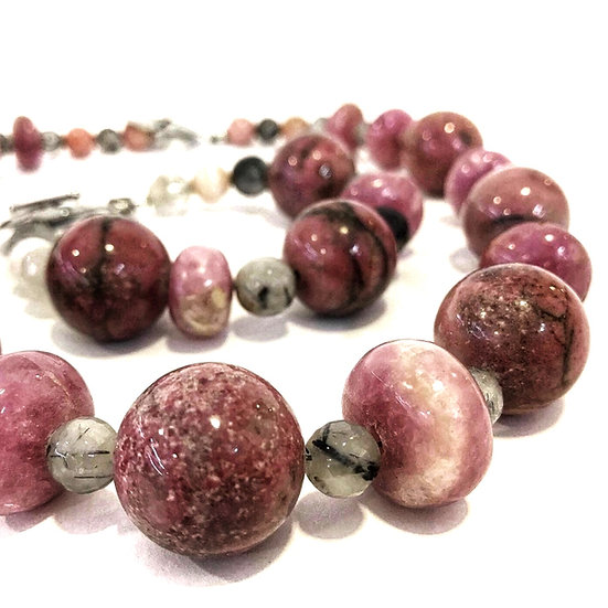Rhodonite and Rutilated Quartz Bracelet