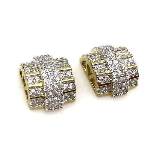 Iced Out 14Karats Silver Gold Plated Earrings