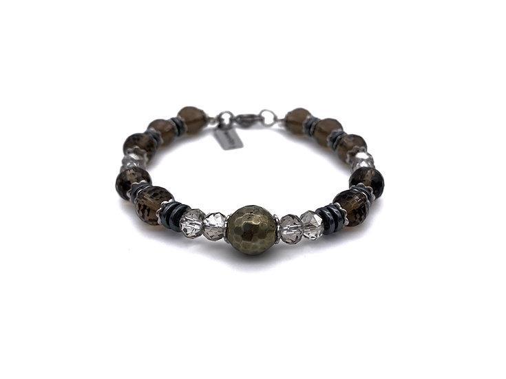 Smokey Quartz and Pyrite Bracelet