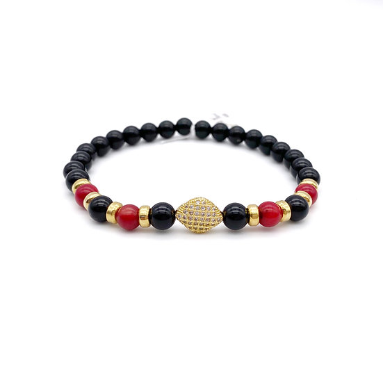 Red Coral Root and Onyx with Rhombus Pave Bracelet