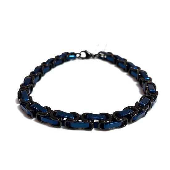 Men's Black and Blue Steel Bracelet
