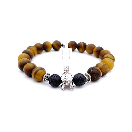 Tiger Eye and Lava with Warrior Accent Bracelet