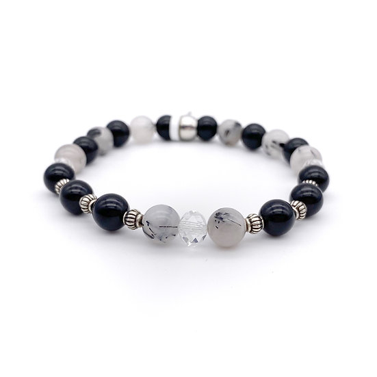 Rutilated Quartz, Onyx and Crystal Bracelet