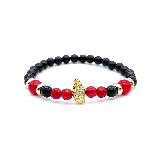 Red Coral Root and Onyx with Shell Bracelet