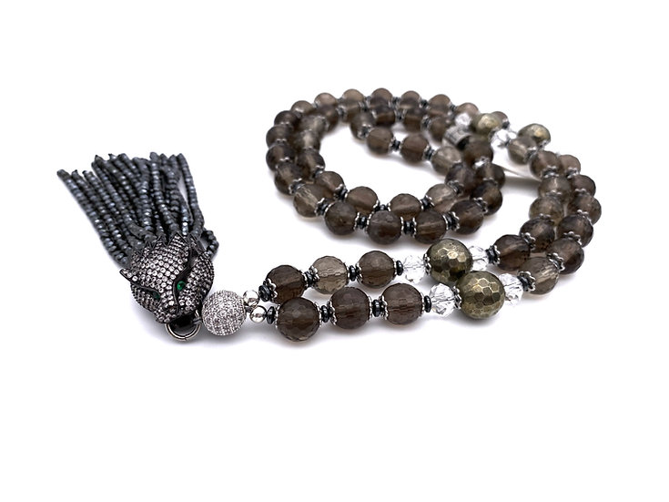 Smokey Quartz and Pyrite Tassel Necklace