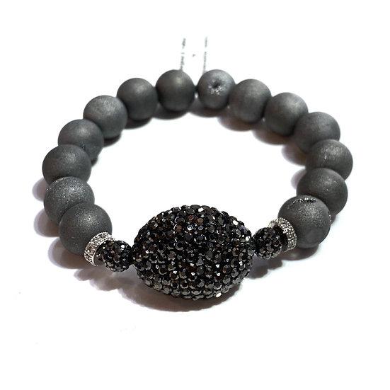 Grey Druzy Agate Bracelet