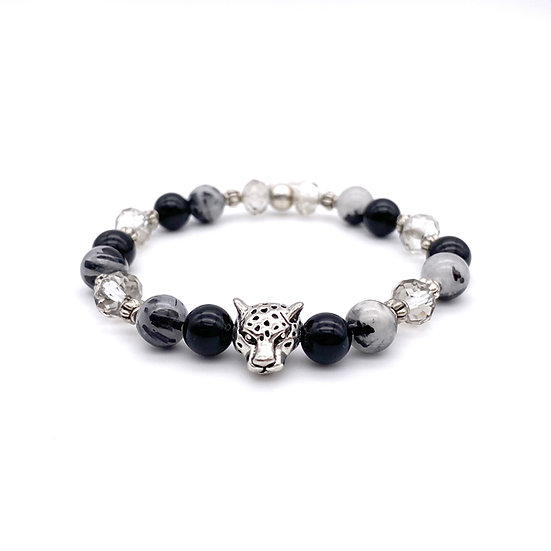 Rutilated Quartz, Onyx and Crystal with Panther Accent Bracelet