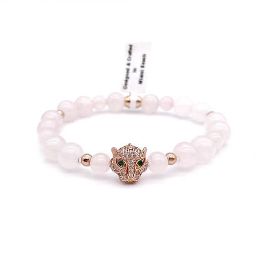 Rose Quartz with Panther Bracelet