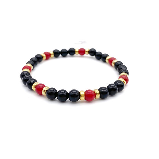 Red Coral Root and Onyx Bracelet