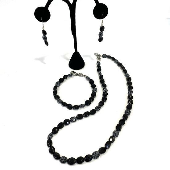 Snowflake Obsidian and Onyx Earrings