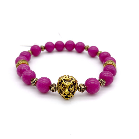 Pink Mountain Jade with Lion Accent Bracelet