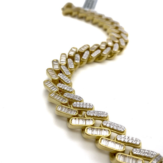 Iced Out 14Karats Gold Plated Silver Baguette Diamond Cuban Bracelet