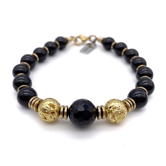 Onyx with Gold Lava and Hematite Accents