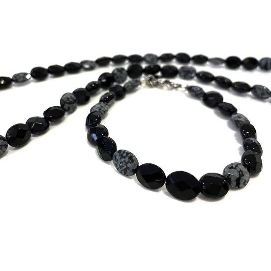 Snowflake Obsidian and Onyx Bracelet