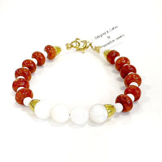 Mother of Pearl & Red Coral Bracelet