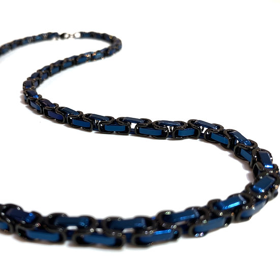 Men's Black and Blue Steel Necklace