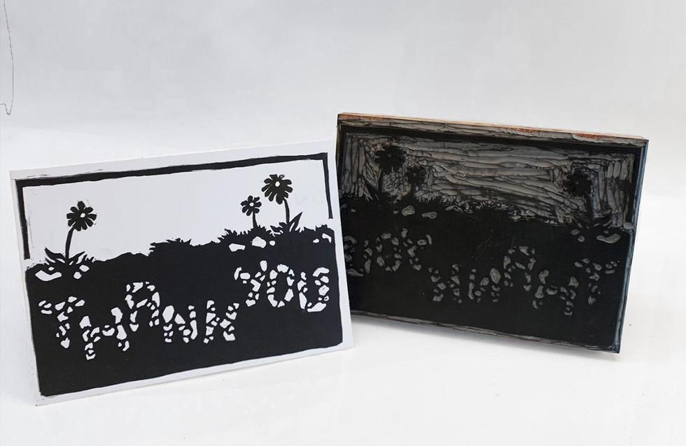 Linocut Thank Cards by Sarah Mac