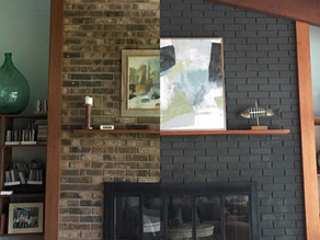 Before + After: A DIY Graphite Brick Fireplace Makeover