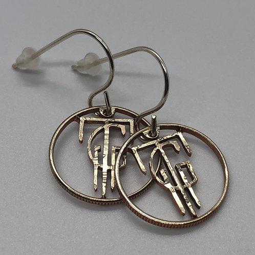 'TG' U.S. Dime Hand Crafted Earrings