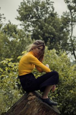 Assis sur un tronc d'arbre
