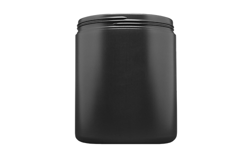 Pote Plástico Abaulado 1kg Preto Sem Tampa (25 Unidades)