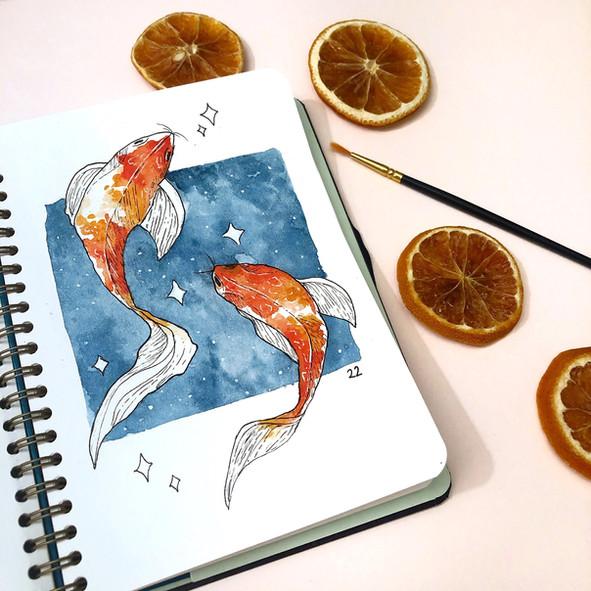 Koi Fish created using watercolour