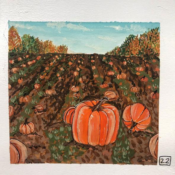 Pumpkin Patch Painting using Gouache Paint