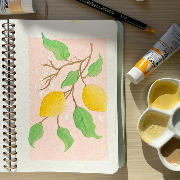 Lemon Painting using Gouache