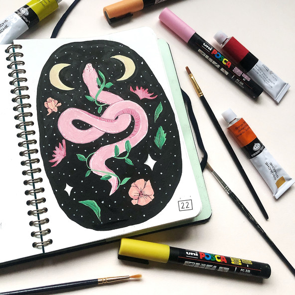 Snake Painting using Posca pens and gouache paint