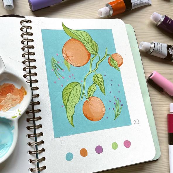 Orange Painting using Gouache Paint