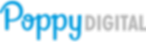 Marca Poppy Digital formada por duas tipografias, a azul foi desenhada à mão com formas fluídas e a cinza é a Futura