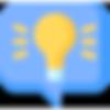 ícone balão de onversa lâmpada ideia