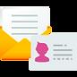 ícone papelaria envelope cartão de visita