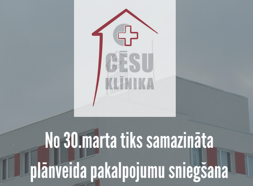 No 30.marta uz laiku tiks samazināta plānveida  veselības aprūpes pakalpojumu sniegšana