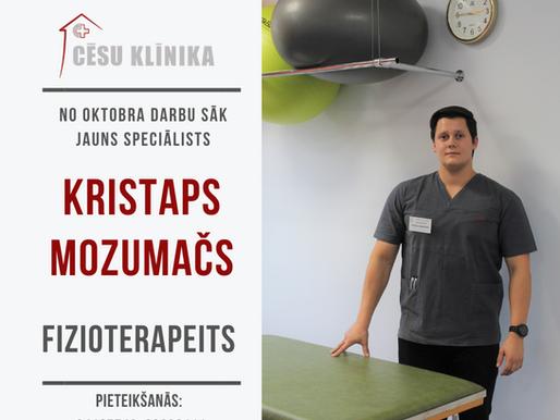 Rehabilitologu komandai pievienojies jauns fizioterapeits Kristaps Mozumačs