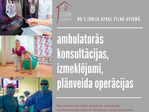 No 3.jūnija būs atjaunoti visi pakalpojumi: Kas jāzina pacientiem