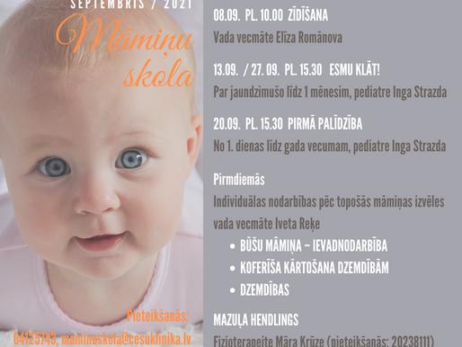 Māmiņu skolas septembra nodarbību programma