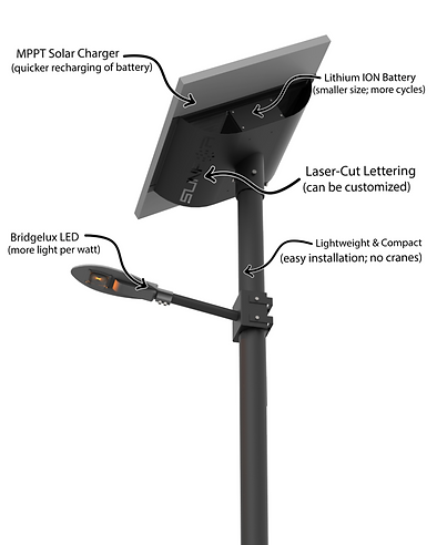 LED Solar Street Light with Lithium Ion Battery and MPPT Solar Charger