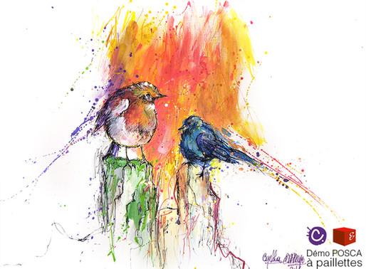 Démonstration d'oiseaux aux Posca à paillettes