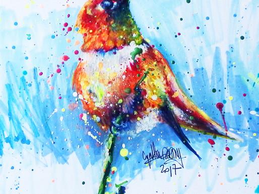 Apprendre à dessiner un oiseau coloré en technique mixte