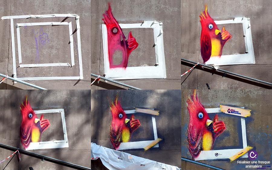 Etape par étape de la peinture rouge, oiseau Pioupiou, sur mur gris au Parc Argonne Découverte, par Cynthia Dormeyer