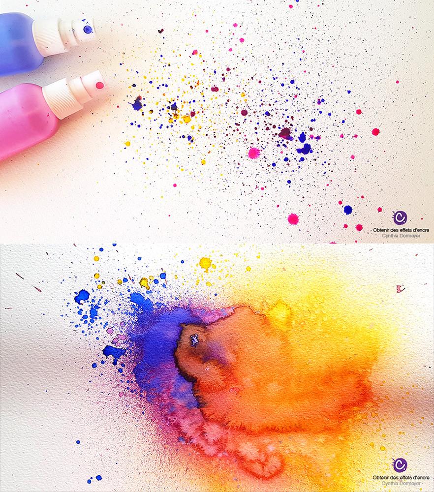Tâches d'encre avec des spray