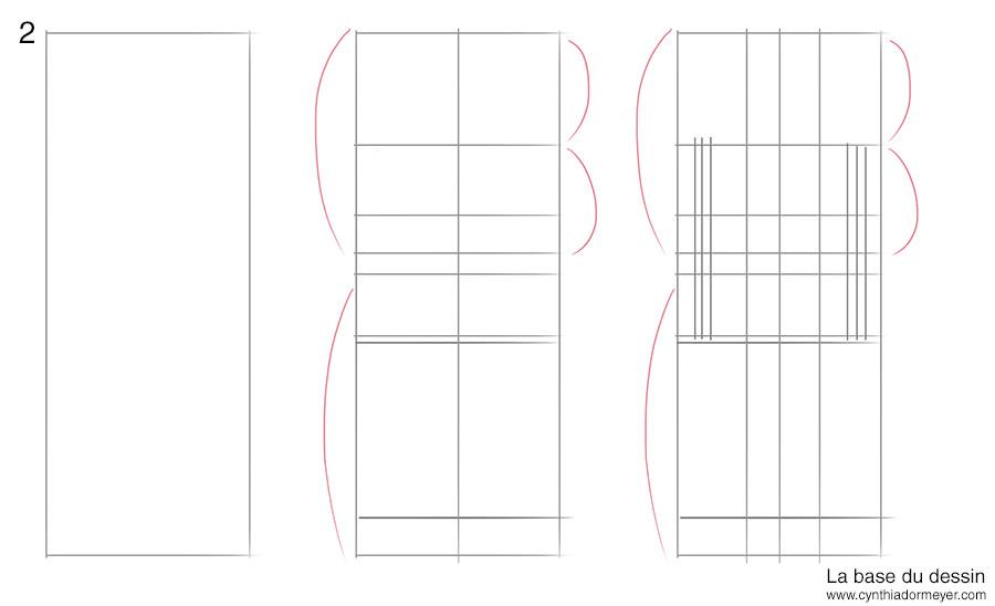 Etape 1 : les lignes de construction du dessin