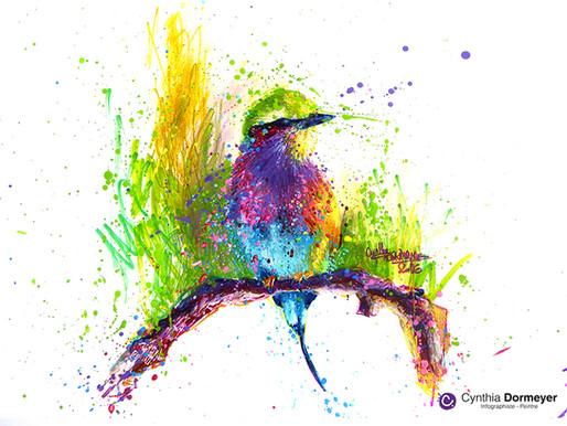 Apprendre à dessiner un oiseau en technique mixte