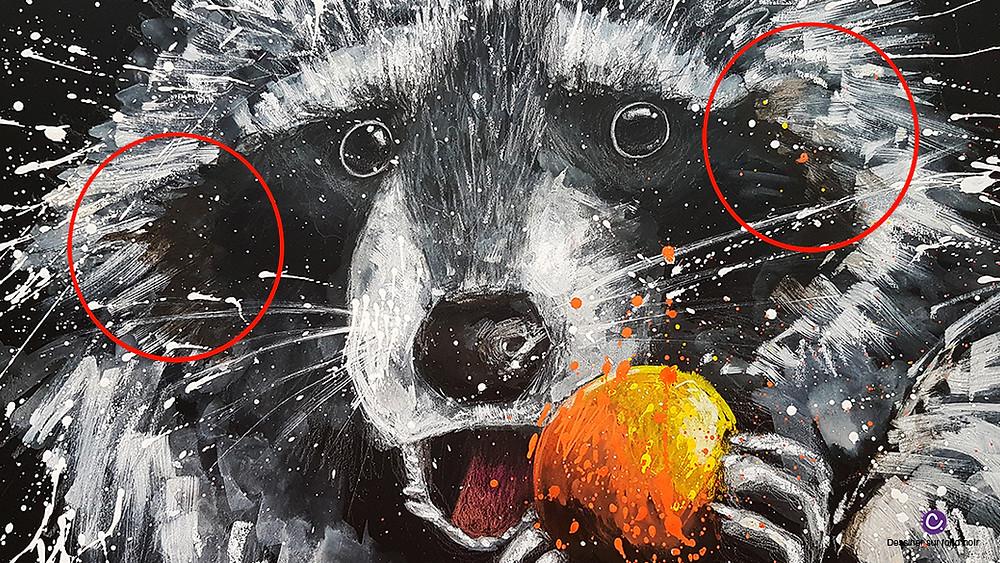 Astuce 5 pour dessiner sur fond noir - Dessin d'un raton laveur avec une orange sur fond noir