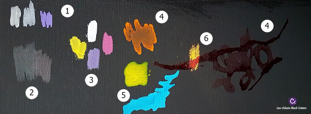 Tests de couleurs sur le châssis entoilé Black Cotton Honsell
