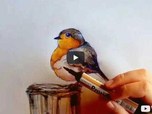 Comment dessiner un oiseau aux marqueurs sur Layout ?