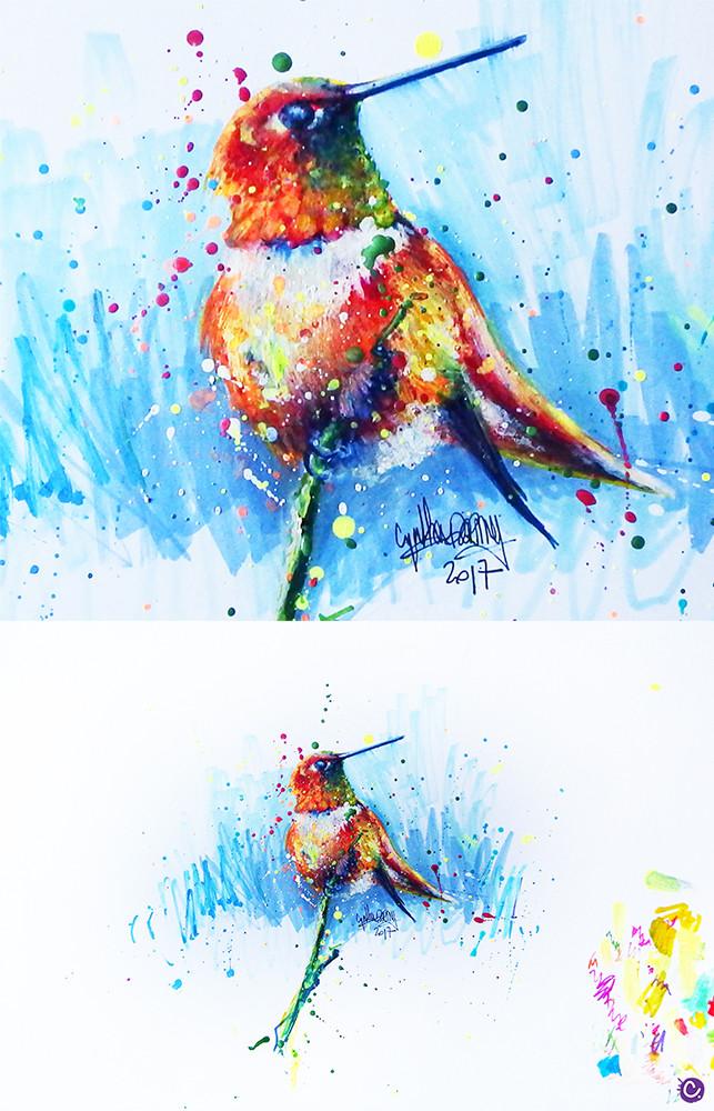 Résultat final - Oiseau coloré sur fond bleu - Cynthia Dormeyer