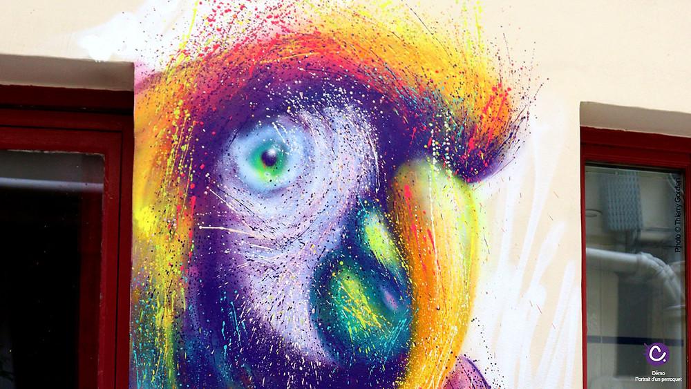 peinture colorée d'un perroquet sur mur à l'hostel Montclair Montmartre à Paris,18eme